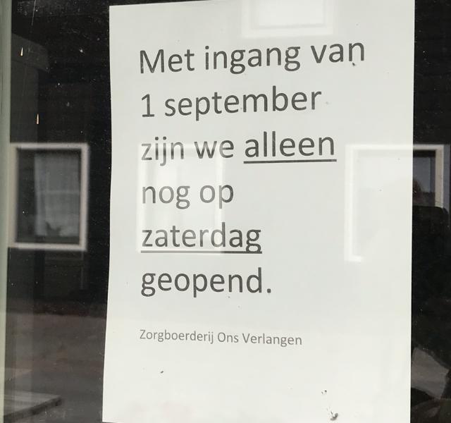 Nieuwe openingstijden Boerderijwinkel Ons Verlangen